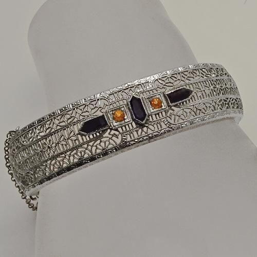 Vintage Art Deco Rhodium Plated Filigree   Bangle Bracelet