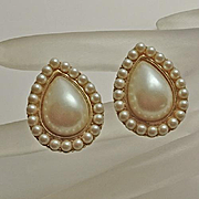 Vintage Yves Saint Laurent  Faux Pearl Cream Tear Drop  Earrings