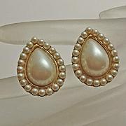 Vintage Yves Saint Laurent  Faux Pearl Cream Tear Drop  Earrings