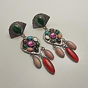 Long Native American Indian Gemstone Turquoise Coral Sterling Silver Earrings Just Stunning
