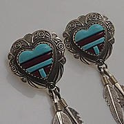 Long Southwestern Turquoise Inlay Sterling Silver Heart Feather Earrings