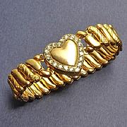Vintage Rhinestone  Sweetheart Stretch Expansion Bracelet Locket Necklace Original Box Dolly Madison Set
