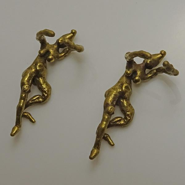 Vintage Modernist Brass Artisan Nude Earrings Ear Cuffs