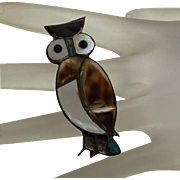 Cute Vintage Native American Indian Owl Pin Sterling Silver Inlay