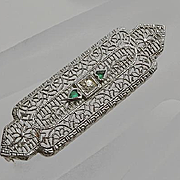 Vintage Art Deco Filigree Rhodium Plate Pin Green Hearts