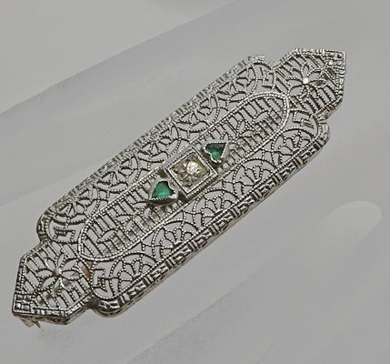 Vintage Art Deco Filigree Rhodium Plate Pin Green Hearts