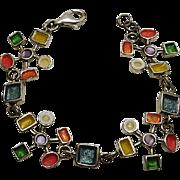 Unique Abstract Enamel Modernist Sterling Silver Bracelet Colorful