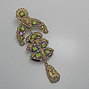 Large Vintage Henry Perichon Pendant Pin Green and Purple