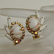 Vintage Juliana  Aurora Borealis White Clip On Earrings