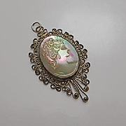 Vintage  Iridescent Mother of Pearl Handcarved Cameo Filigree Pendant
