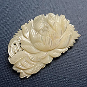 Beautiful Carved Mother of Pearl Flower Pin