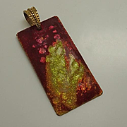 Vintage Limoges Abstract Foil Art Enamel Pendant