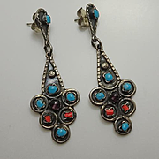 Long Mexican Sterling Silver Turquoise Coral Amethyst Drop Earrings