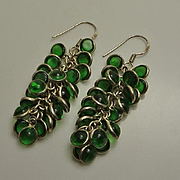Long Green Glass Grape Sterling Silver Drop Earrings