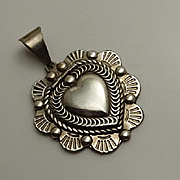 Sterling Silver Mexican Heart Locket Pendant