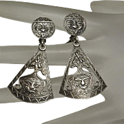 Long Vintage Mexican Sterling Silver Aztec Face Drop Earrings