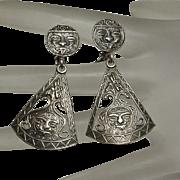 Long Vintage Mexican Sterling Silver Aztec Face Drop Earrings