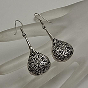 Long Sterling Silver Marcasite Tear Drop Earrings