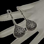 Long Sterling Silver Marcasite Tear Drop Earrings
