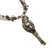 Large Sterling Silver Carol Felley Amethyst Parrot Necklace