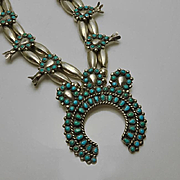 Vintage Sterling Silver Squash Blossom Turquoise Necklace Earring Set