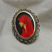 Vintage Hand Painted Red Miniature Portrait 800 Silver  Pin Pendant
