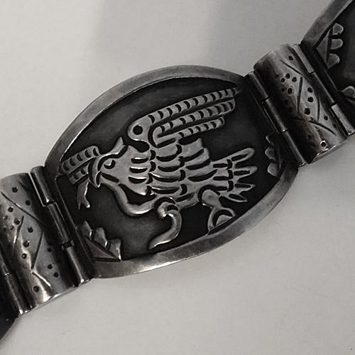 Early Vintage Mexican Aztec Overlay Sterling Silver Bracelet