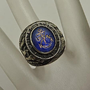 Vintage Cobalt Glass Intaglio Sterling Silver US United States Navy Ring