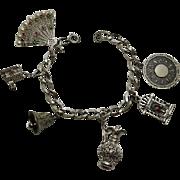 Vintage Beau Sterling Silver Big Charm Bracelet Stanhope Enamel Moving
