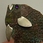 Mixed Metal Sterling Silver Modernist Jim Hemmel Amethyst Large Fish Pin