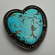 Large As Is Native American Sterling Silver Turquoise Heart Belt Buckle