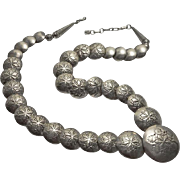 Vintage Native American Indian Sterling Silver Stamped Pillow Bead Necklace