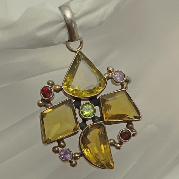 Large Gemstone Citrine Amethyst Garnet Sterling Silver Pendant