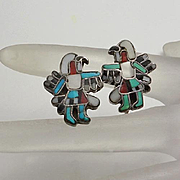 Vintage Native Indian Inlay Eagle Dancer Sterling Silver Earrings Turquoise Coral