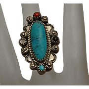 Long Face Native American Sterling Silver Coral Turquoise Mother of Pearl Fancy Ring