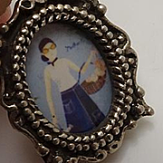 Miniature Hand Painted Porcelain Sterling Silver Pendant Charm