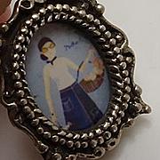 Miniature Hand Painted Porcelain Sterling Silver Pendant Charm