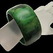 Vintage Bakelite Wide Bangle Bracelet Marbleized Spinach Green