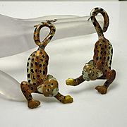 Large Sterling Silver Enamel Leopard Cat Earrings