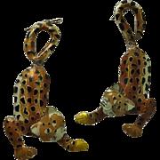 Large Sterling Silver Enamel Leopard Cat Earrings