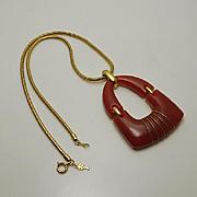 Large Vintage Trifari Mod Modernist Lucite Necklace Pendant