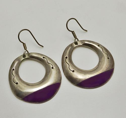 Large Mexican Sterling Silver Dangling Purple Hoop Earrings