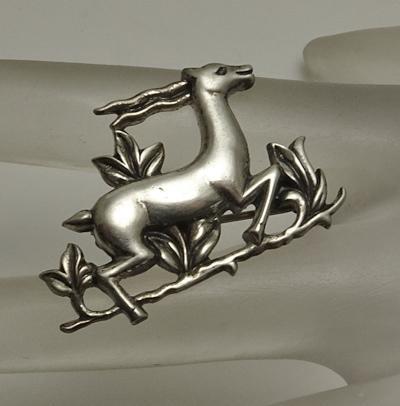 Petite Vintage  Coro Pegasus Sterling Silver Gazelle Figural Pin