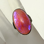 Vintage Sterling Silver Dragons Breath Opal  Ring Size 6