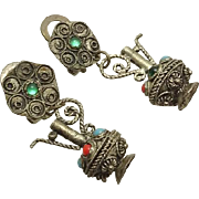 Vintage Etruscan Pitcher Ewer Clip On Earrings
