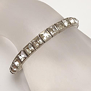 Vintage Art Deco Sterling Silver Square Rhinestone Bracelet