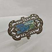 Vintage Art Deco Sterling Silver Marcasite Blue Ring 6 1/2