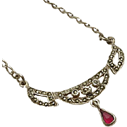 Sterling Silver Marcasite Gemstone Drop Necklace