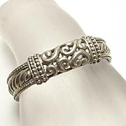 Chunky Ornate Sterling Silver Cuff Bracelet