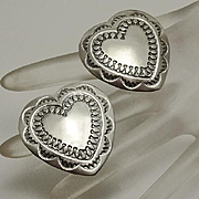 Large Sterling Silver Andy Cadman Navajo Indian Stamped Heart Earrings